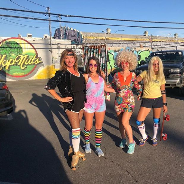These groovy chicks are ready to celebrate @heidi.dove Bday at @hopnutsbrewing
