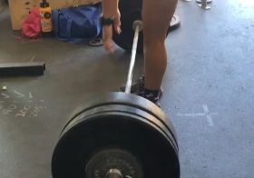 Not everyday is a PR day and that's ok! I attempted 205lbs for the deadlift today and barely got it off the ground lol. The 200# lift (current best) before that wasn't too bad, though, so I just have to try again next time.  I did PR my Diane time by a minute (same scaled weight 130#) Had to write that down on the PR wall 🤣#houseofhustleandmuscle #crossfitgirls #womenwholift #deads [instagram]