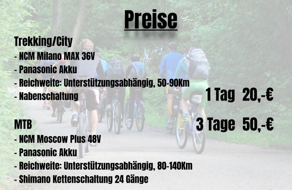 E-Bike Verleih Preise