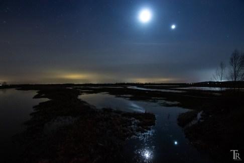 Mond und Venus über dem Westhavelland