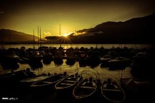 Sonnenaufgang im Hafen von Brissago