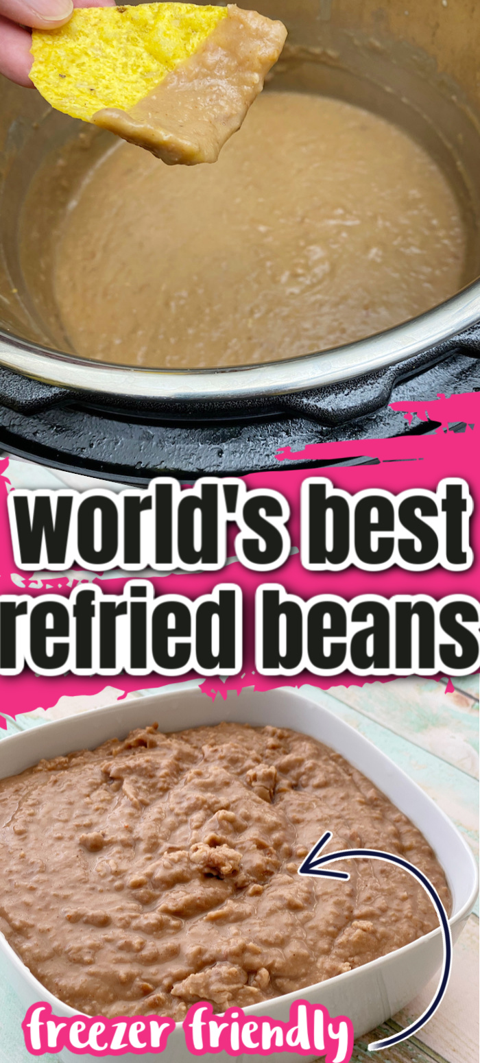 Hands down the best easy refried beans recipe with instant pot, crock-pot and stove top directions. Plus freezes great too. Won't buy the canned stuff any more.