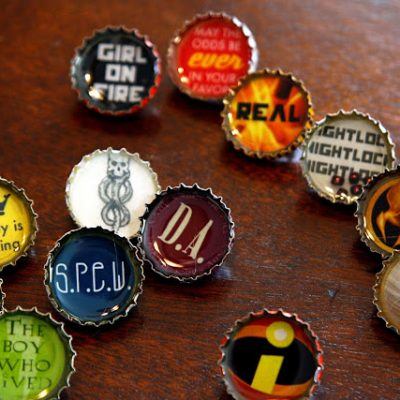 Resin Bottle Cap Pins Tutorial with Harry Potter and Hunger Games Printable