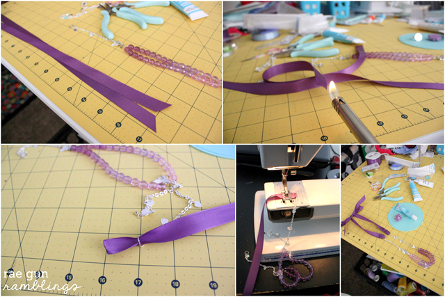 Ombre Ribbon Necklace Tutorial with Martha Stewart Jewelry at Rae Gun Ramblings