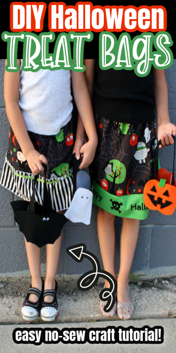 how to make super easy cute treat bags for Halloween out of felt. Great Kids Craft idea