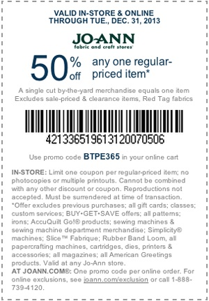 50% off Jo-Ann Fabric and Crafts Coupon #fabulouslyfestive