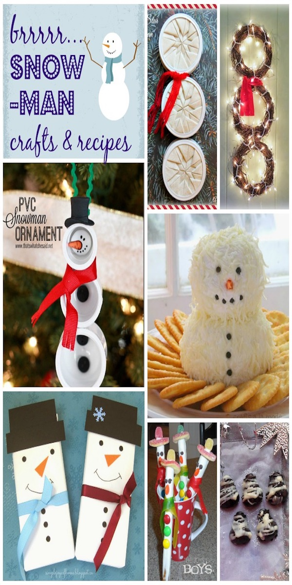 Great list of DIY snowman crafts, recipes and projects