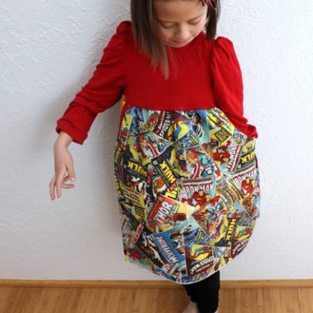 Super hero girls dress! Made from Go To Patterns' Belinda dress and Pow Headband Tutorial - Rae Gun Ramblings