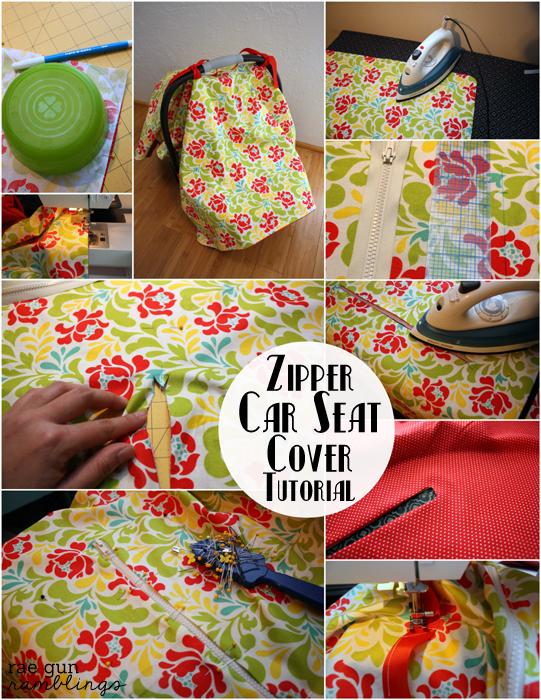 DIY Zipper Car Seat Cover full tutorial at Rae Gun Ramblings