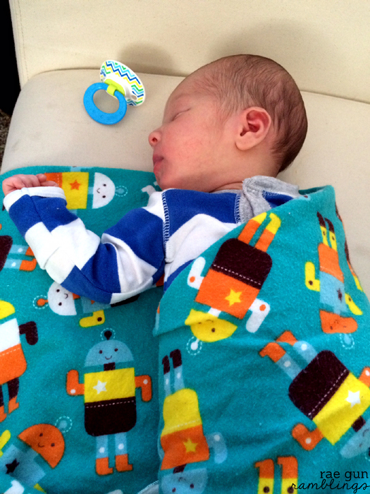 The perfect blanket for swaddling. Idea size and easy tutorial at Rae Gun Ramblings