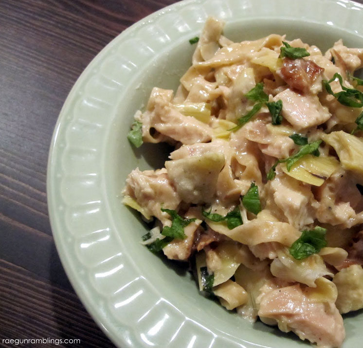 Chicken Artichoke Alfredo pasta recipe