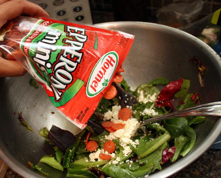 Pepperoni Feta Salad with cripsy wontons