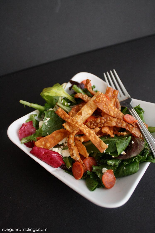 Super great pepperoni feta salad with crispy noodles