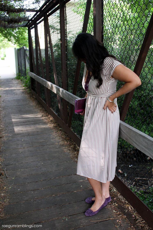 Fabulous DIY brown stripe copy cat dress.