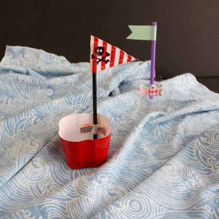 DIY plastic cup pirate ships