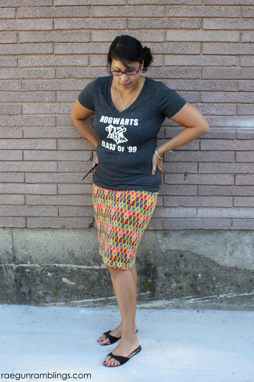 DIY knit skirt and Hogwarts shirt