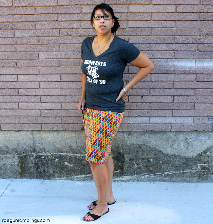 awesome diy ikat knit skirt and harry potter shirt