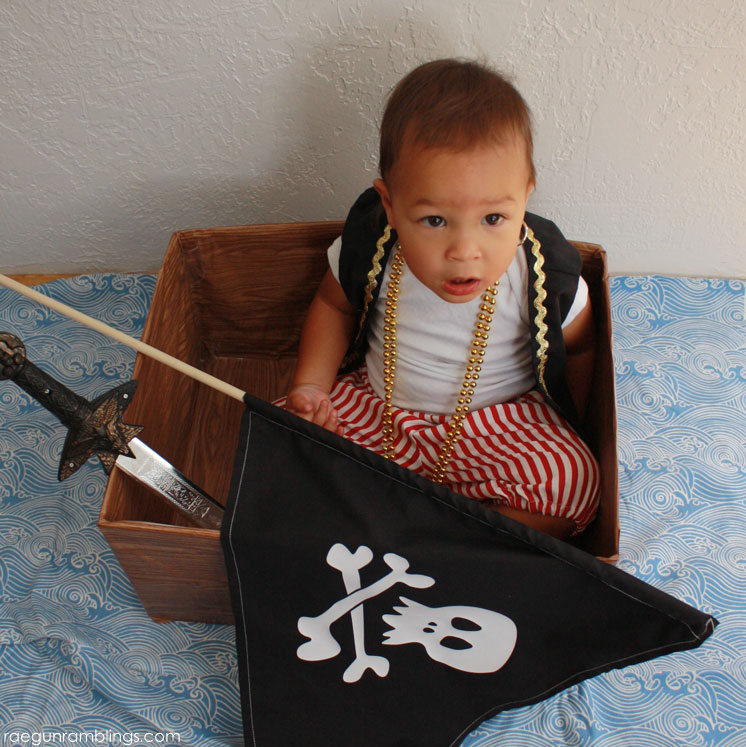 Super fun idea for making a pirate ship from an old diaper box