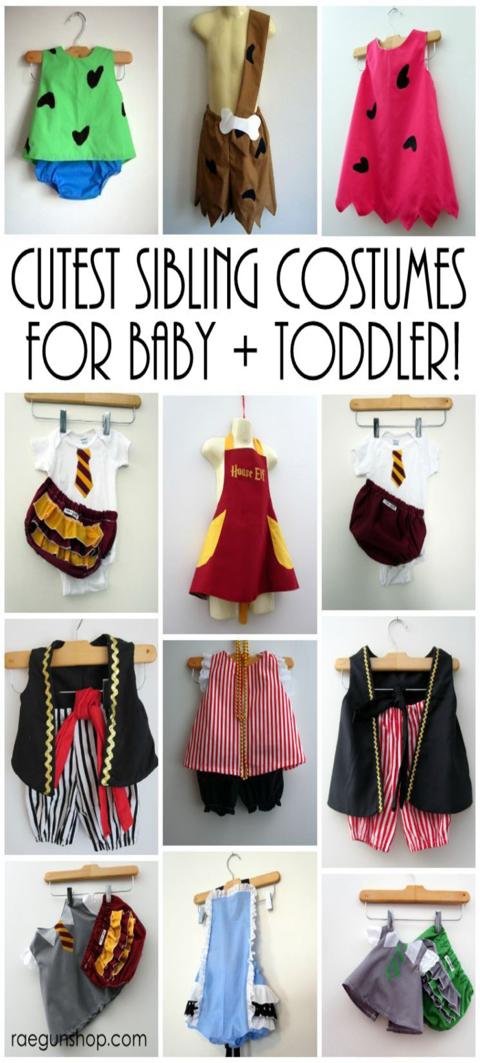 pebbles and bam bam pirate and Harry Potter costumes for babies