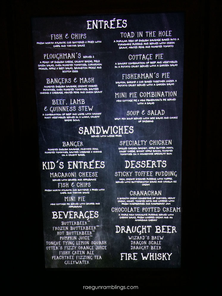 Menu for the Leaky Cauldron at the wizarding world of harry potter