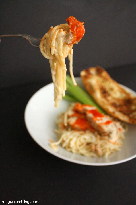New favorite chicken dinner. 10 minute one pot buffalo chicken blue cheese pasta recipe