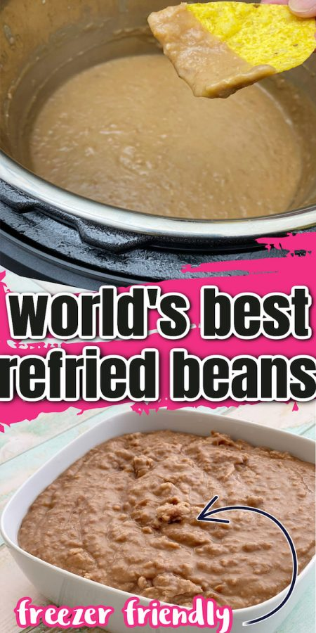 refried beans in instant pot and square bowl