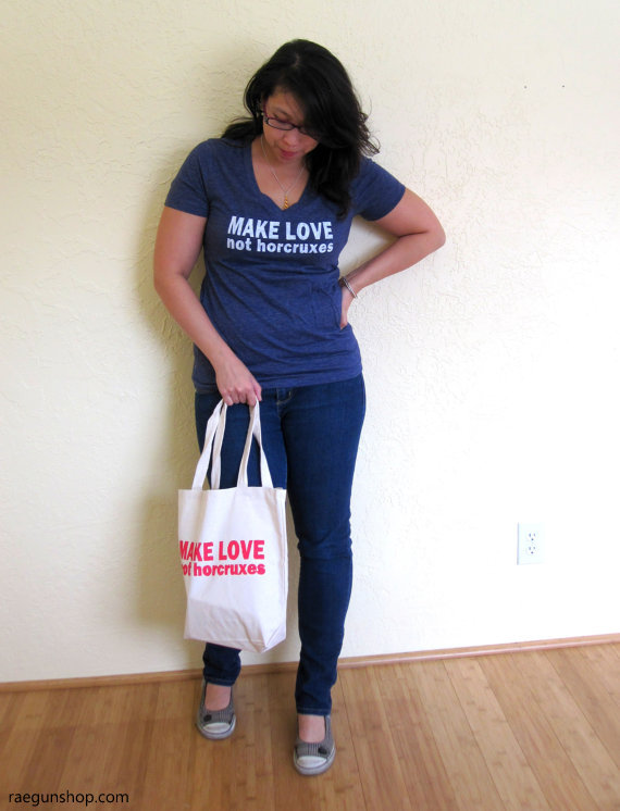 So fun Make Love Not Horcruxes shirt and book bag. Perfect for Harry Potter fans