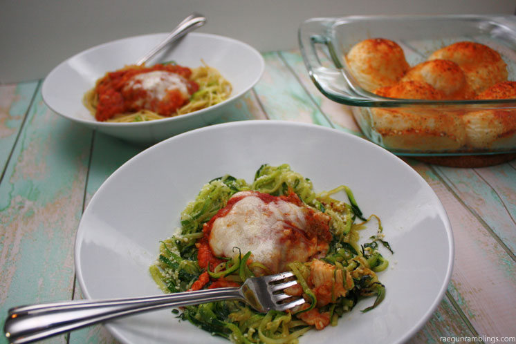 Chicken parmesan and zucchini noodles. Great parmesan zoodle recipe in just 10 minutes