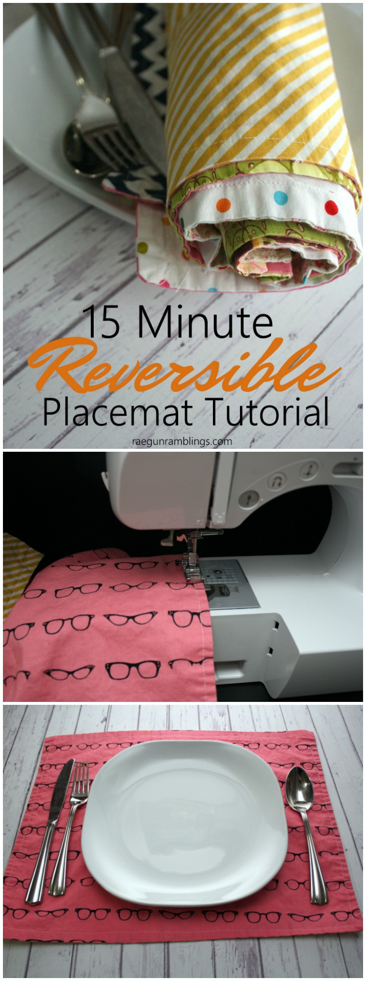 The kids sewed some of these this weekend. Great 15 minute reversible placemats sewing tutorial perfect for beginners or anyone wanting a fast project. Free pattern.