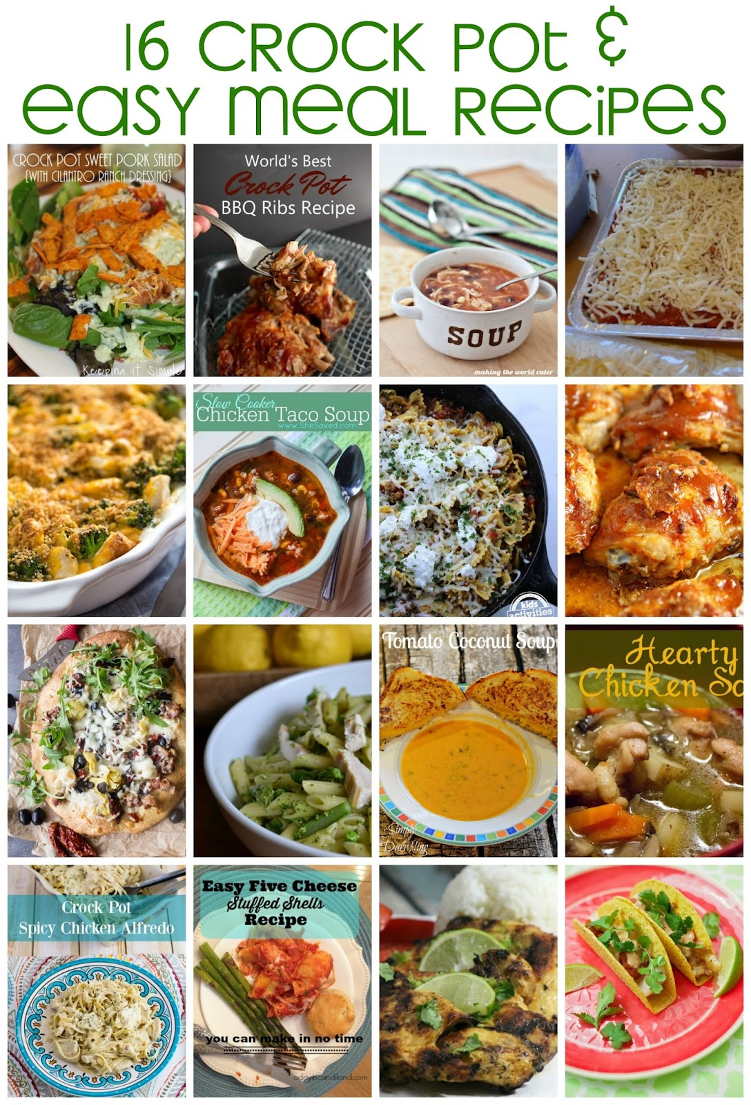 16 Crock Pot and Easy Meal Recipes. Delicious ideas for weeknight family dinners