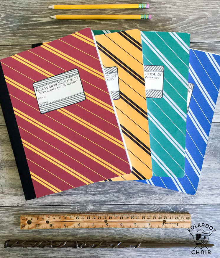 DIY Harry Potter Hogwwarts House notebooks with free printable template