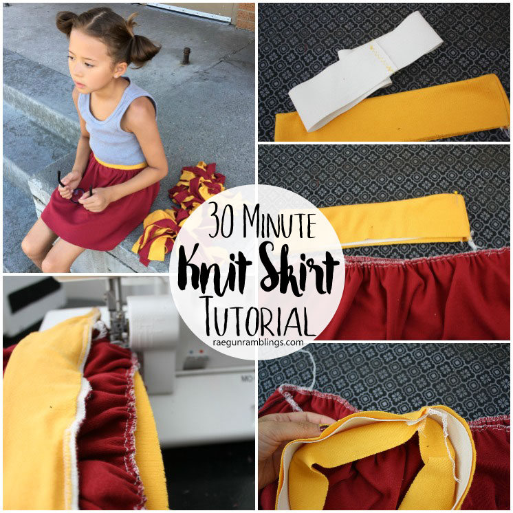 30 Minute Knit skirt tutorial. So cute but comfy too. Made this and the kiddo loves it. Will sew more!