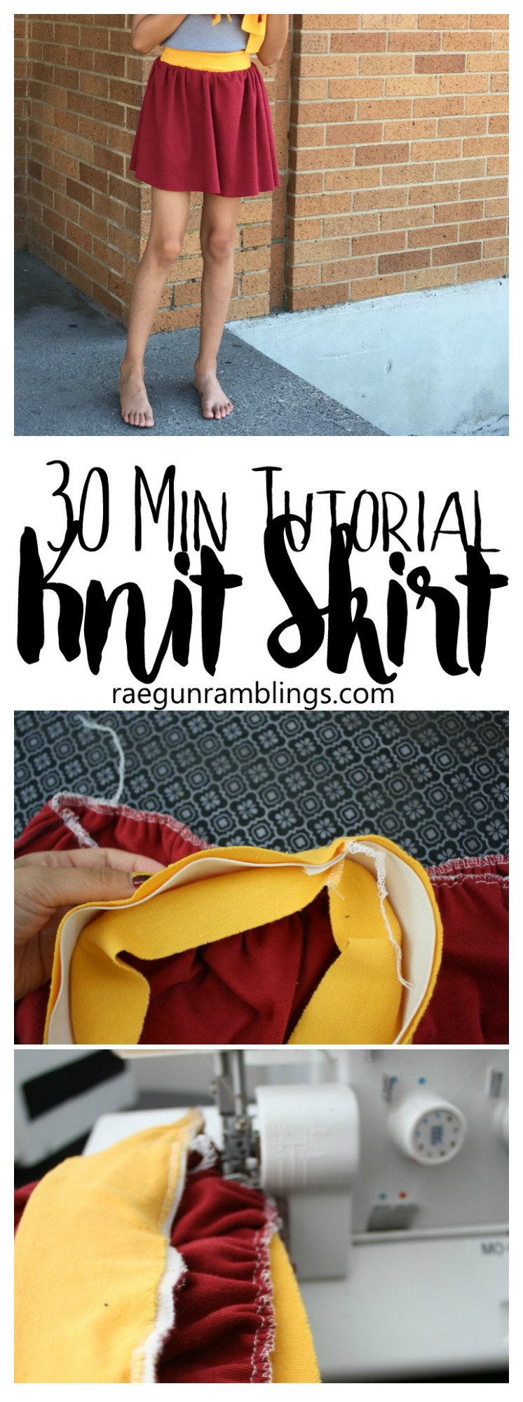 Great sewing tutorial and super clear instructions for how to make a pattern to fit everyone. 30 minute knit skirt tutorial