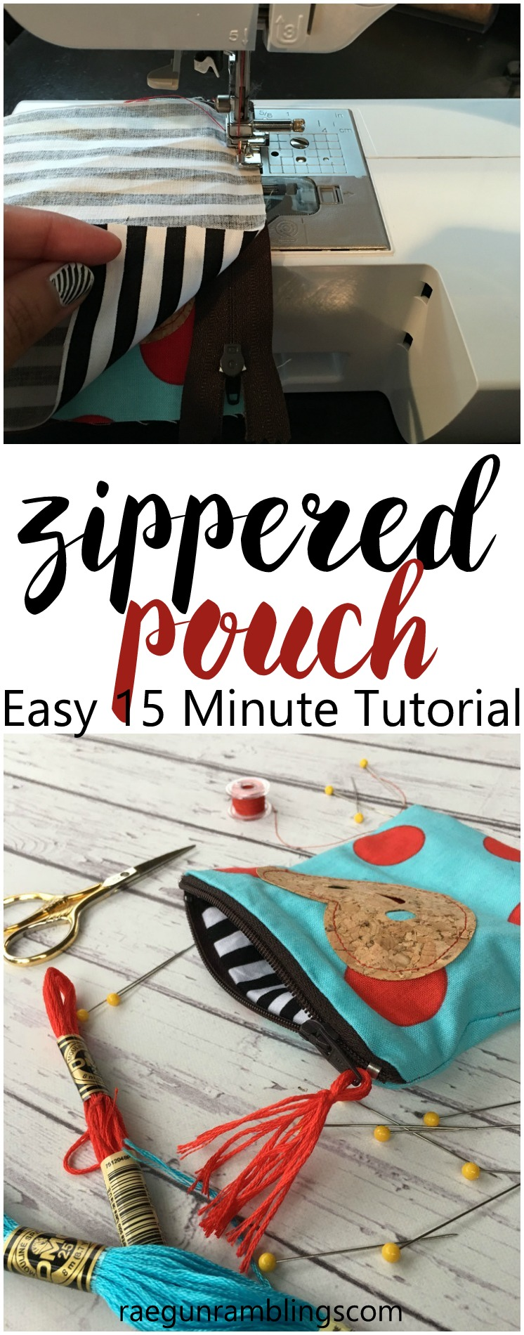 How to make a DIY zippered pouch. Great sewing tutorial.