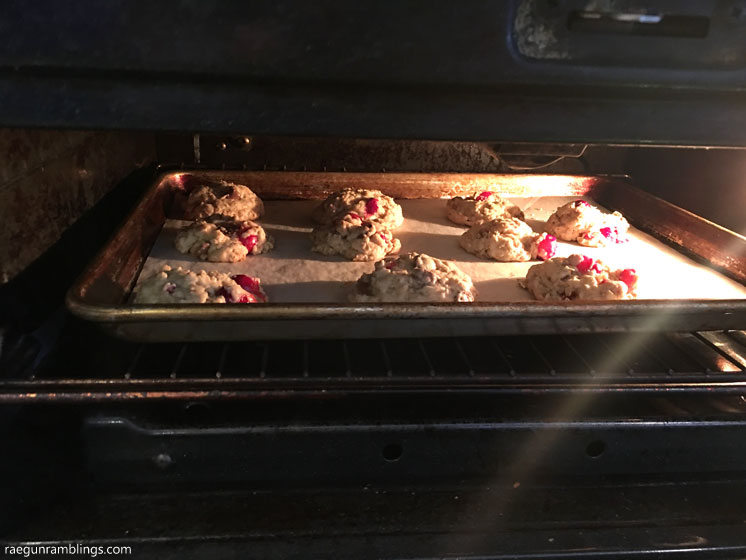 Love these. Cranberry chocolate chip oatmeal cookies. Great recipe