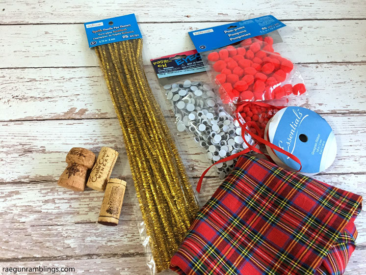 Supplies for Rudolf Reindeer cork pins and Christmas ornaments tutorial.