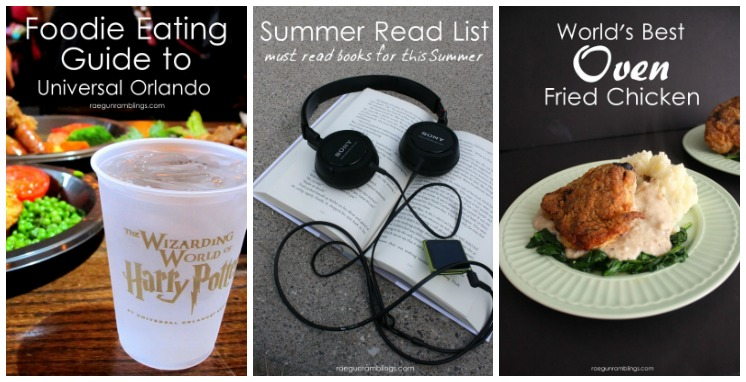 vacation books and food