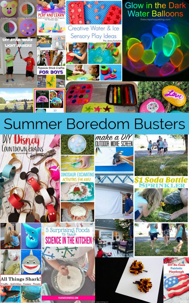 kid activies great for bored kids. summer boredom busters that work for any time time of the year or days in side