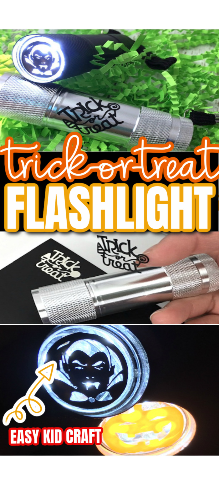 How to make trick or treat flashlights similar kids craft with a Cricut.