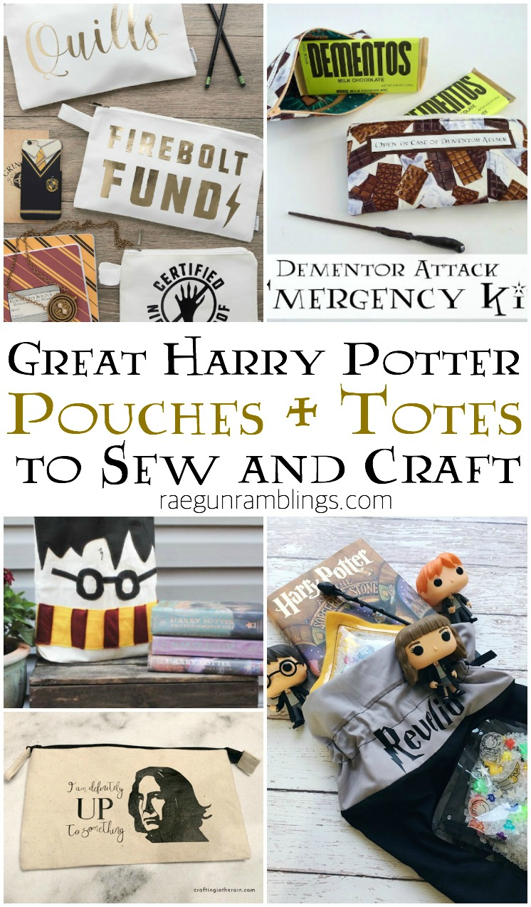 harry potter pouches DIY totes and bags for fantastic beasts and wizardign world fans