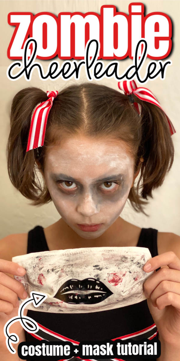 girl in zombie costume with zombie face mask