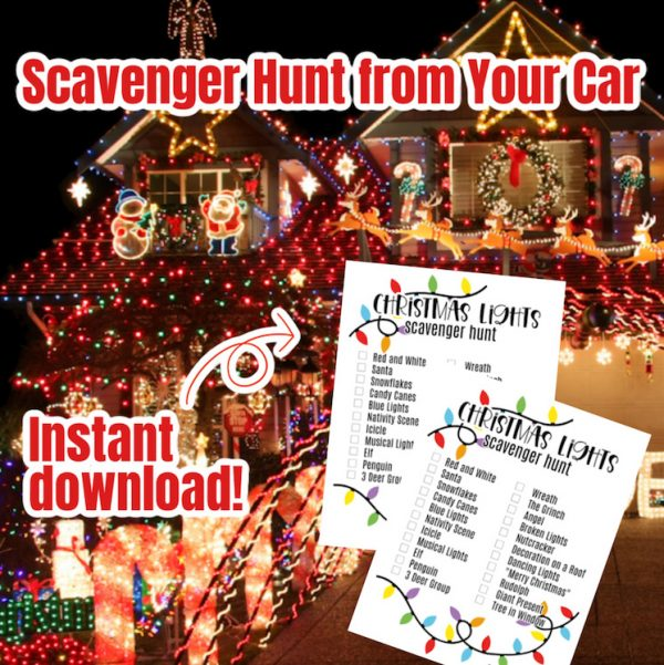 Christmas lights on house and scavenger hunt printables