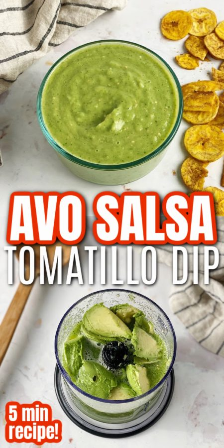 bow of avocado salsa and blender with avocado and tomatillos
