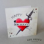 Cards Stationery Horseshoe Tattoo Card Forever Rockabilly Wedding Traditional Vintage Engagement Home Furniture Diy Micromedia Ba