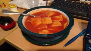 This picture contains a bowl of raviolis in tomato sauce.