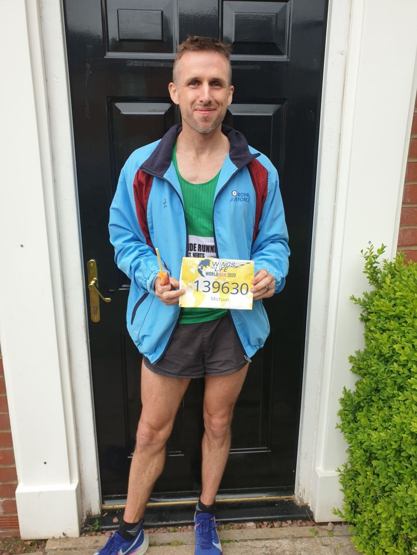 FS Taylor pictured with his race number after running 43.4 miles