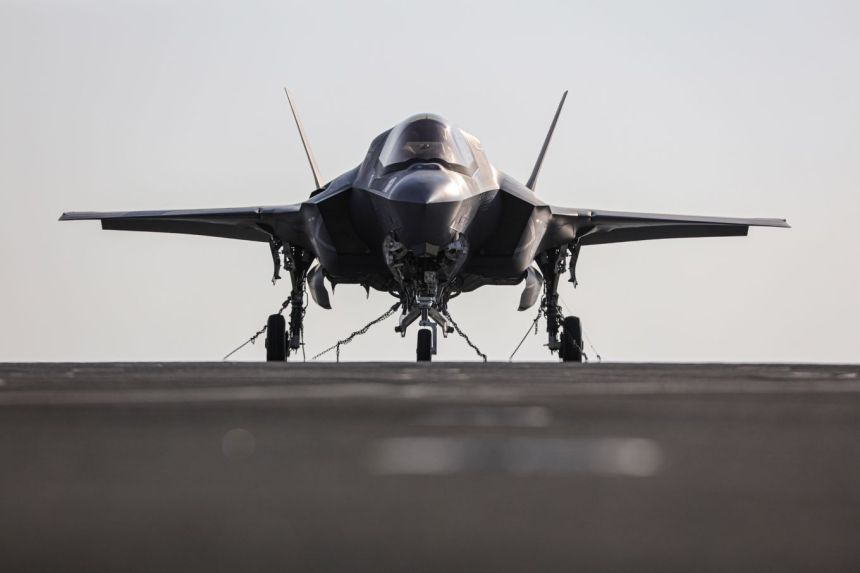 Image shows an F35 aircraft head on.