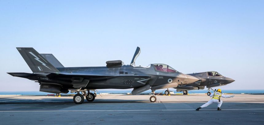 Image shows F35 aircraft about to take off from the aircraft carrier