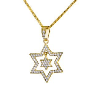 14K Yellow Gold and White Diamonds Double Star Of David Pendant