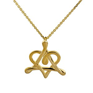 Yellow Gold Star Of David Heart Pendant